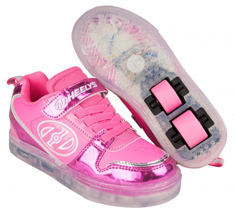 Heelys - X2 Boom Lighted Fuchsia/Pink/Silver/Hearts - koloboty