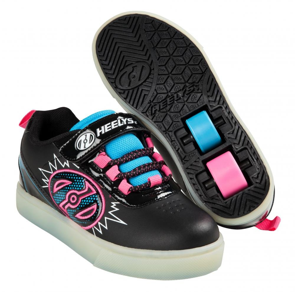 Heelys - X2 POW Lighted Black/Neon Blue/Neon Pink - koloboty
