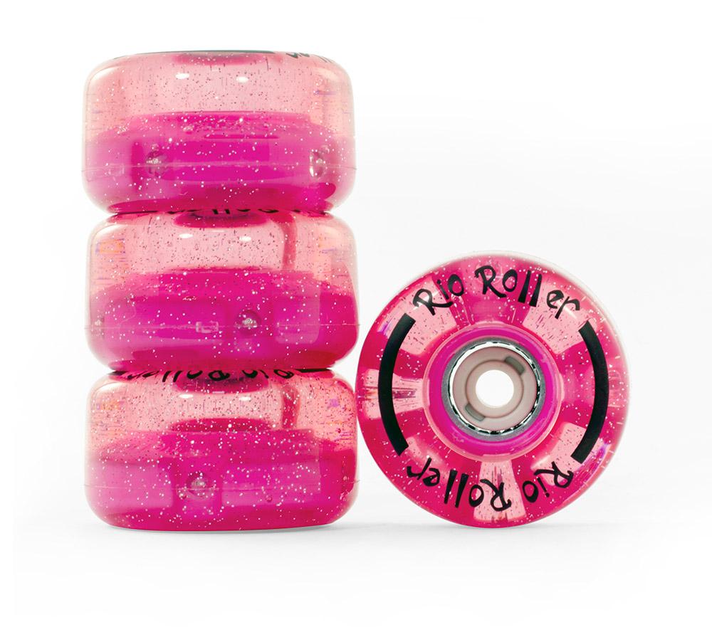 Rio Light Up pink 2 - svítící kolečka pro brusle