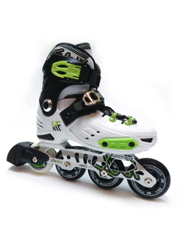 KRF FREESKATE First White-Lime INLINE  SKATE - nastavitelné in-line brusle